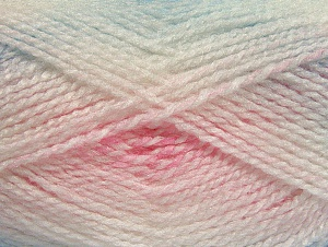 Note that this is a self-stripping yarn. Please see package photos for the color change. Machine washable and dryable. Fiber Content 100% Acrylic, White, Light Pink, Light Blue, Brand ICE, Yarn Thickness 3 Light  DK, Light, Worsted, fnt2-58193