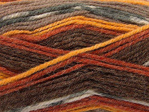 Fiber Content 50% Wool, 50% Acrylic, Brand ICE, Grey, Gold, Cream, Copper, Brown Shades, Yarn Thickness 4 Medium  Worsted, Afghan, Aran, fnt2-58278