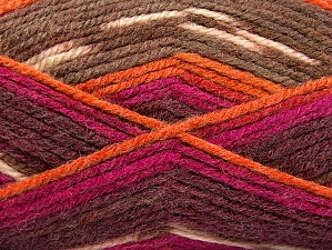 Fiber Content 50% Wool, 50% Acrylic, Purple, Orange, Brand ICE, Fuchsia, Brown Shades, Yarn Thickness 4 Medium  Worsted, Afghan, Aran, fnt2-58279