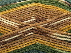 Fiber Content 50% Wool, 50% Acrylic, Brand Ice Yarns, Green Shades, Gold, Brown Shades, Yarn Thickness 4 Medium Worsted, Afghan, Aran, fnt2-58288