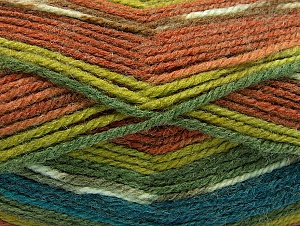 Fiber Content 50% Wool, 50% Acrylic, Turquoise, Brand ICE, Green Shades, Brown Shades, Yarn Thickness 4 Medium  Worsted, Afghan, Aran, fnt2-58289