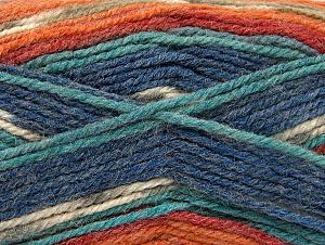 Fiber Content 50% Wool, 50% Acrylic, Turquoise Shades, Orange Shades, Khaki, Brand Ice Yarns, Yarn Thickness 4 Medium Worsted, Afghan, Aran, fnt2-58290
