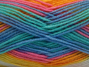 Fiber Content 75% Acrylic, 25% Wool, Yellow, White, Turquoise, Pink, Brand ICE, Blue, Yarn Thickness 3 Light  DK, Light, Worsted, fnt2-58394