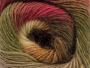 Fiber Content 60% Premium Acrylic, 20% Alpaca, 20% Wool, Brand ICE, Green, Cream, Burgundy, Brown Shades, Yarn Thickness 2 Fine  Sport, Baby, fnt2-58401