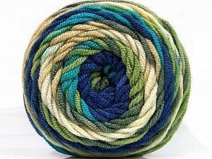 Fiber Content 100% Acrylic, Turquoise, Navy, Brand Ice Yarns, Green, Cream, Yarn Thickness 4 Medium Worsted, Afghan, Aran, fnt2-58458