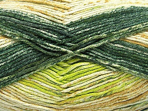 Fiber Content 50% Premium Acrylic, 50% Cotton, Brand ICE, Green Shades, Yarn Thickness 2 Fine  Sport, Baby, fnt2-58689