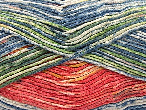 Fiber Content 50% Premium Acrylic, 50% Cotton, Salmon, Brand ICE, Green, Gold, Blue Shades, Yarn Thickness 2 Fine  Sport, Baby, fnt2-58690