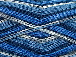 Fiber Content 75% Superwash Wool, 25% Polyamide, White, Brand ICE, Blue Shades, Yarn Thickness 1 SuperFine  Sock, Fingering, Baby, fnt2-59006