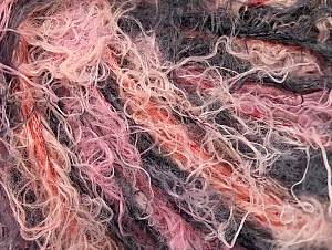 Fiber Content 40% Viscose, 30% Wool, 30% Polyamide, Salmon, Pink, Brand ICE, Black, Yarn Thickness 5 Bulky  Chunky, Craft, Rug, fnt2-59585
