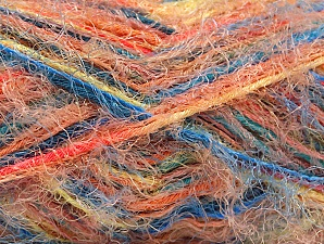 Fiber Content 60% Acrylic, 40% Polyamide, Yellow, Turquoise, Salmon, Orange, Brand ICE, Yarn Thickness 4 Medium  Worsted, Afghan, Aran, fnt2-59693