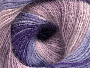 Fiber Content 60% Acrylic, 20% Angora, 20% Wool, Purple, Lilac Shades, Brand ICE, Yarn Thickness 2 Fine  Sport, Baby, fnt2-59754