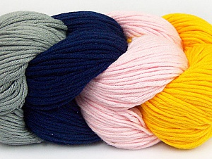 You will love the cotton & acrylic blend of Iceyarns Art color cotton. Art color cotton is a DK weight yarn in delightful 4 color combinations.<br>Each 100 gram hank is made up of 4 individual small hanks .Each small hank is 25 gr / 57 yds. You can simply separate small hanks.<br>Each color is separate. In this way,  you can start from the color you want and create your color combinations. Fiber Content 50% Cotton, 50% Acrylic, Pink, Navy, Brand ICE, Grey, Dark Yellow, Yarn Thickness 3 Light  DK, Light, Worsted, fnt2-60263