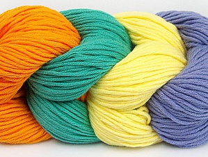 You will love the cotton & acrylic blend of Iceyarns Art color cotton. Art color cotton is a DK weight yarn in delightful 4 color combinations.<br>Each 100 gram hank is made up of 4 individual small hanks .Each small hank is 25 gr / 57 yds. You can simply separate small hanks.<br>Each color is separate. In this way,  you can start from the color you want and create your color combinations. Fiber Content 50% Acrylic, 50% Cotton, Yellow, Orange, Lilac, Brand ICE, Emerald Green, Yarn Thickness 3 Light  DK, Light, Worsted, fnt2-60264