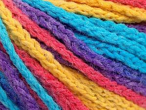 Fiber Content 50% Polyamide, 50% Acrylic, Yellow, Turquoise, Salmon, Purple, Brand ICE, Yarn Thickness 4 Medium  Worsted, Afghan, Aran, fnt2-60445