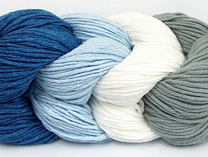 You will love the cotton & acrylic blend of Iceyarns Art color cotton. Art color cotton is a DK weight yarn in delightful 4 color combinations.<br>Each 100 gram hank is made up of 4 individual small hanks .Each small hank is 25 gr / 57 yds. You can simply separate small hanks.<br>Each color is separate. In this way,  you can start from the color you want and create your color combinations. Fiber Content 50% Acrylic, 50% Cotton, White, Light Blue, Brand ICE, Grey, Blue, Yarn Thickness 3 Light  DK, Light, Worsted, fnt2-60458