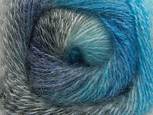 Fiber Content 75% Premium Acrylic, 15% Wool, 10% Mohair, Turquoise, Brand ICE, Grey Shades, Blue, Yarn Thickness 2 Fine  Sport, Baby, fnt2-61004