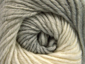 Fiber Content 75% Premium Acrylic, 25% Wool, Brand ICE, Grey Shades, Cream, Yarn Thickness 4 Medium  Worsted, Afghan, Aran, fnt2-61011