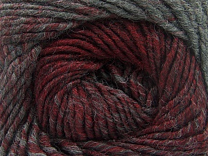 Fiber Content 75% Premium Acrylic, 25% Wool, Brand ICE, Grey, Burgundy, Yarn Thickness 4 Medium  Worsted, Afghan, Aran, fnt2-61014