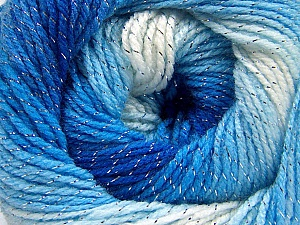 Fiber Content 95% Acrylic, 5% Lurex, White, Brand ICE, Blue Shades, Yarn Thickness 3 Light  DK, Light, Worsted, fnt2-61100