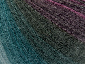 Fiber Content 60% Acrylic, 20% Wool, 20% Angora, Teal, Purple Shades, Brand ICE, Anthracite, Yarn Thickness 2 Fine  Sport, Baby, fnt2-61198