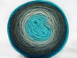 Fiber Content 70% Premium Acrylic, 30% Wool, Turquoise Shades, Brand ICE, Grey Shades, Yarn Thickness 3 Light  DK, Light, Worsted, fnt2-61220