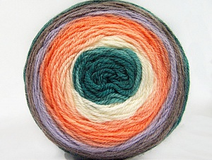 Fiber Content 70% Premium Acrylic, 30% Wool, White, Teal, Orange Shades, Lilac, Brand ICE, Yarn Thickness 3 Light  DK, Light, Worsted, fnt2-61232