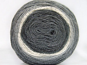 Fiber Content 95% Acrylic, 5% Metallic Lurex, White, Brand ICE, Grey Shades, Yarn Thickness 3 Light  DK, Light, Worsted, fnt2-61251
