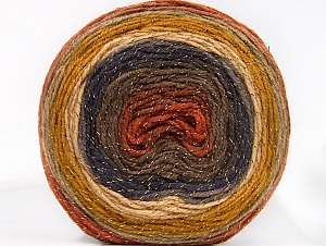 Fiber Content 95% Acrylic, 5% Metallic Lurex, Navy, Brand ICE, Gold, Copper, Camel, Brown, Beige, Yarn Thickness 3 Light  DK, Light, Worsted, fnt2-61253