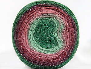 Fiber Content 95% Acrylic, 5% Metallic Lurex, Rose Pink, Maroon, Brand ICE, Green Shades, Yarn Thickness 3 Light  DK, Light, Worsted, fnt2-61262