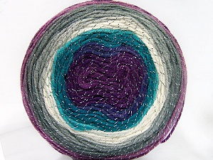 Fiber Content 95% Acrylic, 5% Metallic Lurex, Turquoise Shades, Purple Shades, Brand ICE, Grey Shades, Yarn Thickness 3 Light  DK, Light, Worsted, fnt2-61263