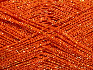 Fiberinnehåll 75% Viskos, 25% metalliskt Lurex, Orange, Brand ICE, Gold, fnt2-62239