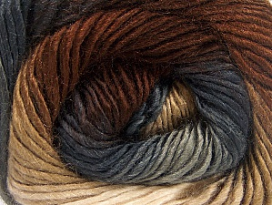 This is a self-striping yarn. Please see package photo for the color combination. Fiber Content 100% Premium Acrylic, Brand ICE, Grey Shades, Brown Shades, fnt2-62897