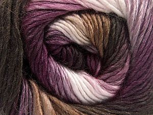 This is a self-striping yarn. Please see package photo for the color combination. Fiber Content 100% Premium Acrylic, White, Purple, Lilac, Brand ICE, Brown Shades, fnt2-62900