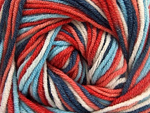 Fiber Content 55% Cotton, 45% Acrylic, White, Salmon, Red, Brand ICE, Blue Shades, Yarn Thickness 3 Light  DK, Light, Worsted, fnt2-63088