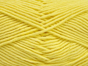Fiber Content 55% Cotton, 45% Acrylic, Light Yellow, Brand ICE, Yarn Thickness 4 Medium  Worsted, Afghan, Aran, fnt2-63104