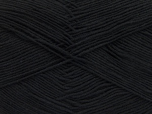 Fiberinnehåll 55% Bomull, 45% Akryl, Brand ICE, Black, Yarn Thickness 1 SuperFine  Sock, Fingering, Baby, fnt2-63106