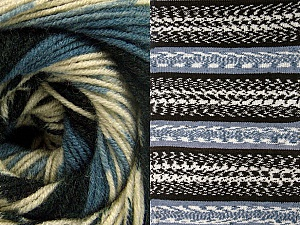 Fiber Content 70% Acrylic, 30% Wool, Smoke Blue, Brand ICE, Cream, Black, Yarn Thickness 3 Light  DK, Light, Worsted, fnt2-63203