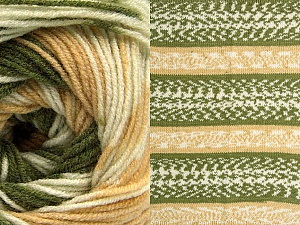 Fiber Content 70% Acrylic, 30% Wool, Brand ICE, Green, Cream, Cafe Latte, Yarn Thickness 3 Light  DK, Light, Worsted, fnt2-63204