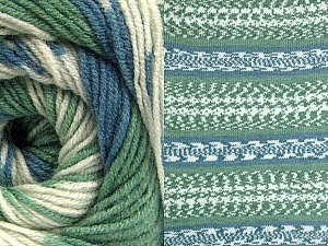 Fiber Content 70% Acrylic, 30% Wool, Brand ICE, Green, Cream, Blue, Yarn Thickness 3 Light  DK, Light, Worsted, fnt2-63207