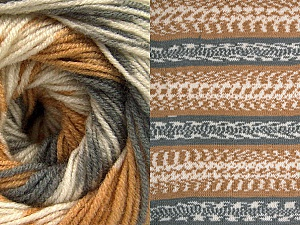 Fiber Content 70% Acrylic, 30% Wool, Light Brown, Brand ICE, Grey, Cream, Yarn Thickness 3 Light  DK, Light, Worsted, fnt2-63210