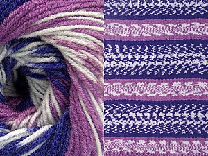Fiberinnehåll 70% Akryl, 30% Ull, White, Purple, Lilac, Brand ICE, Yarn Thickness 3 Light  DK, Light, Worsted, fnt2-63211