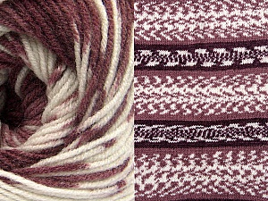 Fiberinnehåll 70% Akryl, 30% Ull, White, Maroon Shades, Brand ICE, Yarn Thickness 3 Light  DK, Light, Worsted, fnt2-63217