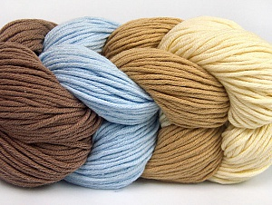 You will love the cotton & acrylic blend of Iceyarns Art color cotton. Art color cotton is a DK weight yarn in delightful 4 color combinations.<br>Each 100 gram hank is made up of 4 individual small hanks .Each small hank is 25 gr / 57 yds. You can simply separate small hanks.<br>Each color is separate. In this way,  you can start from the color you want and create your color combinations. Fiber Content 50% Acrylic, 50% Cotton, Light Brown, Light Blue, Brand ICE, Cream, Camel, Yarn Thickness 3 Light  DK, Light, Worsted, fnt2-63483