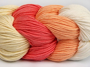 You will love the cotton & acrylic blend of Iceyarns Art color cotton. Art color cotton is a DK weight yarn in delightful 4 color combinations.<br>Each 100 gram hank is made up of 4 individual small hanks .Each small hank is 25 gr / 57 yds. You can simply separate small hanks.<br>Each color is separate. In this way,  you can start from the color you want and create your color combinations. Fiber Content 50% Acrylic, 50% Cotton, White, Salmon, Light Salmon, Brand ICE, Cream, Yarn Thickness 3 Light  DK, Light, Worsted, fnt2-63484