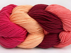 You will love the cotton & acrylic blend of Iceyarns Art color cotton. Art color cotton is a DK weight yarn in delightful 4 color combinations.<br>Each 100 gram hank is made up of 4 individual small hanks .Each small hank is 25 gr / 57 yds. You can simply separate small hanks.<br>Each color is separate. In this way,  you can start from the color you want and create your color combinations. Fiber Content 50% Acrylic, 50% Cotton, Salmon, Light Salmon, Brand ICE, Fuchsia, Burgundy, Yarn Thickness 3 Light  DK, Light, Worsted, fnt2-63485