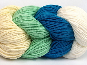 You will love the cotton & acrylic blend of Iceyarns Art color cotton. Art color cotton is a DK weight yarn in delightful 4 color combinations.<br>Each 100 gram hank is made up of 4 individual small hanks .Each small hank is 25 gr / 57 yds. You can simply separate small hanks.<br>Each color is separate. In this way,  you can start from the color you want and create your color combinations. Fiber Content 50% Acrylic, 50% Cotton, White, Turquoise, Mint Green, Brand ICE, Cream, Yarn Thickness 3 Light  DK, Light, Worsted, fnt2-63489