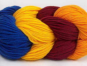 You will love the cotton & acrylic blend of Iceyarns Art color cotton. Art color cotton is a DK weight yarn in delightful 4 color combinations.<br>Each 100 gram hank is made up of 4 individual small hanks .Each small hank is 25 gr / 57 yds. You can simply separate small hanks.<br>Each color is separate. In this way,  you can start from the color you want and create your color combinations. Fiber Content 50% Acrylic, 50% Cotton, Yellow, Brand ICE, Gold, Burgundy, Blue, Yarn Thickness 3 Light  DK, Light, Worsted, fnt2-63495