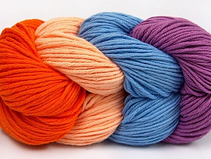 You will love the cotton & acrylic blend of Iceyarns Art color cotton. Art color cotton is a DK weight yarn in delightful 4 color combinations.<br>Each 100 gram hank is made up of 4 individual small hanks .Each small hank is 25 gr / 57 yds. You can simply separate small hanks.<br>Each color is separate. In this way,  you can start from the color you want and create your color combinations. Fiber Content 50% Acrylic, 50% Cotton, Salmon, Light Salmon, Lavender, Brand ICE, Blue, Yarn Thickness 3 Light  DK, Light, Worsted, fnt2-63497