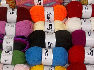 Acrylic Yarns This mixed lot includes a total of 1800 gr yarn. There is no standard for ball weight. Also disregard any information on the labels. You will get what you see in the photo. Brand ICE, fnt2-63532
