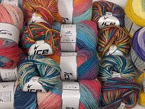Wool - Acrylic Yarns This mixed lot includes a total of 1800 gr yarn. There is no standard for ball weight. Also disregard any information on the labels. You will get what you see in the photo. Brand ICE, fnt2-63534